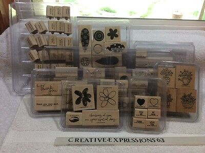 Stampin' Up Lot Of 10 Sets Of G/U Wood Mounted Rubber Stamps ExCondition