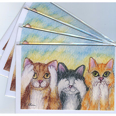 4 x ginger tabby tuxedo cat greeting cards - three wise monkeys hear no evil