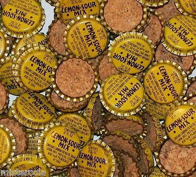 Soda pop bottle caps Lot of 25 LEMON SOUR MIX cork lined unused new old stock