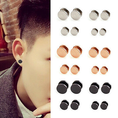 1 Pair 4/6/8/10/12/14mm Unisex Rock Men Steel Barbell Screw Earrings Ear Studs