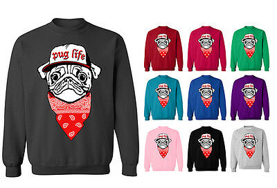Womens Pug Life Dog Puppy Bandana Hip Hop Funny Pullover Hoodie NEW UK 12-20