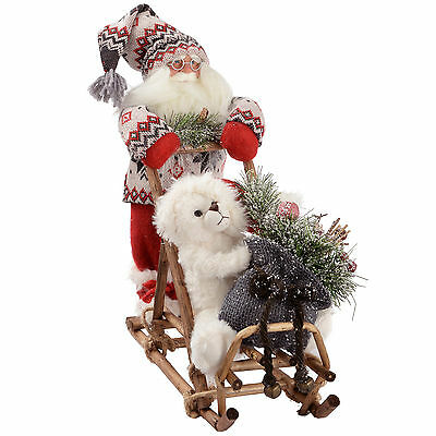 Santa Pushing a Sledge in a Red & Green Knitted Outfit Decoration - Size 35cm