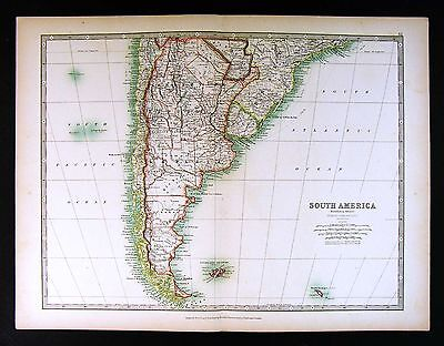 1906 Johnston Map - South America Argentina Chile Uruguay Paraguay Brazil Rio