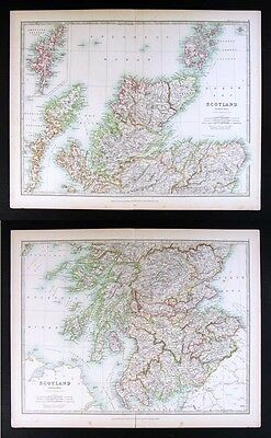 1906 Johnston Royal Atlas - 2 Maps of Scotland North & South Edinboro Loch Ness