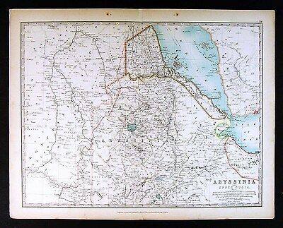 1906 Johnston Map - Abyssinia Nubia - Ethiopia Africa Red Sea Sahara Sudan Yemen