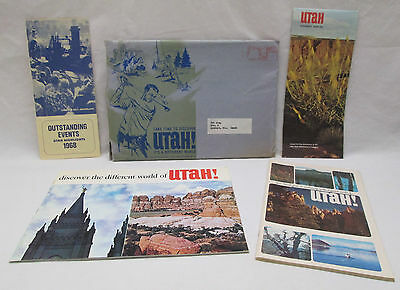 Vintage 1968 State of Utah Tourist Information Map Travel Packet Brochure