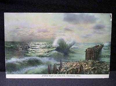 Wild Night on Lake Erie Cleveland 1912  Braun Postcard Cleveland Cancel