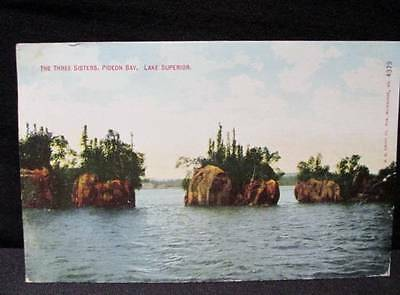 The Three Sisters Pigeon Bay Lake Superior Kropp Postcard 1911 Duluth Cancel