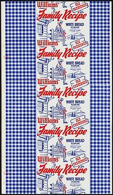 Vintage bread wrapper WILLIAMS dated 1953 cowboy and ranch picture Eugene Oregon