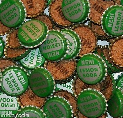 Soda pop bottle caps Lot of 25 NEHI LEMON SODA cork lined unused new old stock