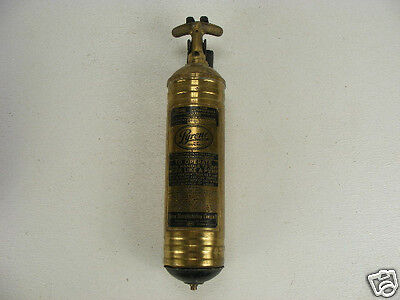 Vintage Original PYRENE BRASS Fire Extinguisher with Mounting Bracket 1950s