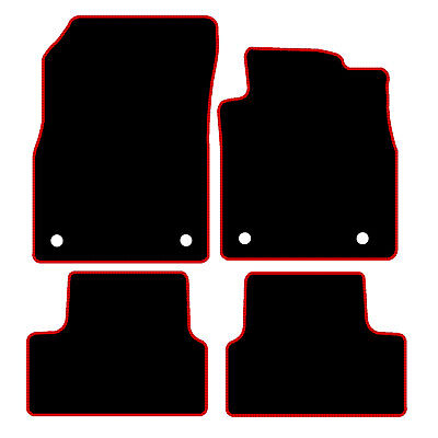 Vauxhall Astra J MK6 Tailored Black Car Floor Mats Carpets 4pc With Red Edge