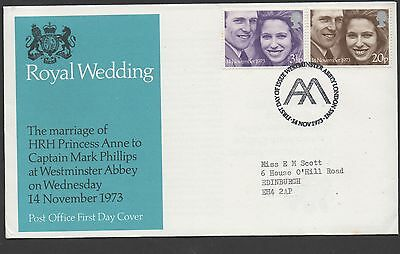 GB 1973 FDC Royal Wedding Westminster Abbey postmark set stamps
