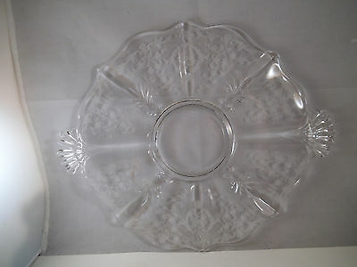 """Vintage Fostoria Navarre Clear Glass 10"""" Two Handled Cake Plate"""