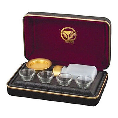Brasstone Portable Communion Set - 4 Cup - Black/Maroon - Lords Supper NEW!