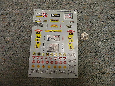 Microscale decals HO 87-275 Signs Trail Motel 7 up Stop etc  J116