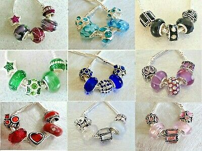 NEW! Fabulous 5 Mix of Sparkle Charm Beads FOR European Charm Bracelet Bangle
