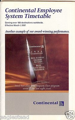 Airline Timetable - Continental - 01/03/97 - Employee System - S