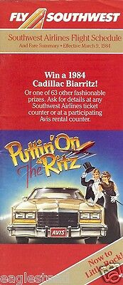 Airline Timetable - Southwest - 30/05/84 - Puttin On The Ritz Cadillac Biarritz