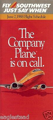 Airline Timetable - Southwest - 02/06/88