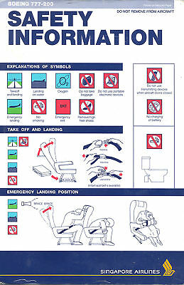 Safety Card - Singapore Airlines - B777 200 (S2654)