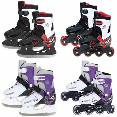 XQ MAX 2in1 INLINE PRO ROLLER SKATES ICE SKATING BOOTS ADJUSTABLE SHOES BLADES