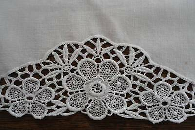 "34"" Vintage White Linen Table Runner Schiffli Lace Trim"
