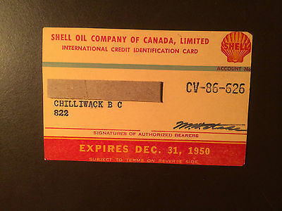 Shell Oil Company of Canada 1950 Vintage Collectors Credit Card