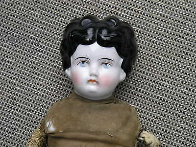 Antique Vintage Porcelain Doll Leather Body to restore Old and Cute Patched