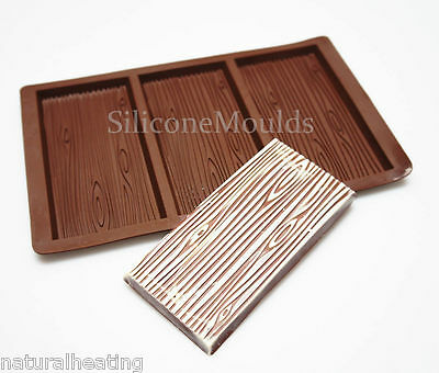 3 bar WOOD GRAIN Large Chocolate Mould Professional Silicone Rectangular Mold