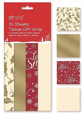 10 Sheets Christmas Tissue Paper Gift Wrap Red Gold & Cream Holly Designs TIRP