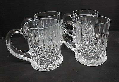 Set of 4 Beautiful Heavy Clear Cut Glass Mugs/Cups W/ Handles & Starburst Design