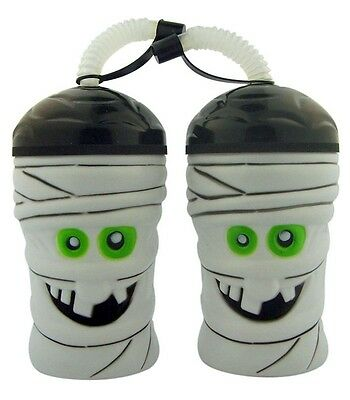 Set of 2 Halloween Cups 16 Ounce Mummy Drink Water Bottles with Flexible Straws