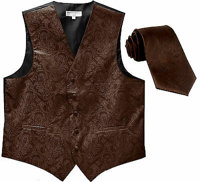 New Men's Formal Vest Tuxedo Waistcoat_necktie paisley pattern wedding brown