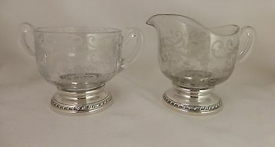 Chantilly Pattern Cambridge Crystal & Sterling Cream & Sugar by Sheffield Silver