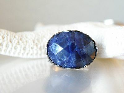 STERLING SILVER 925 ISRAEL DESIGNER AS SCULPTED BLUE SODALITE MODERN RING