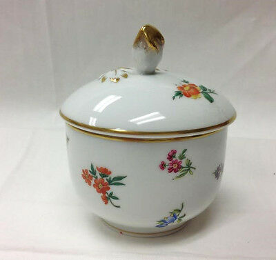 "Hutschenreuther ""mirabell"" Sugar Bowl 4 1/4"" Floral White Porcelain New  Germany"