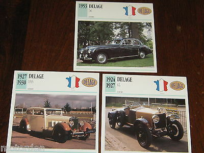 DELAGE 1924 GL, 1927 DMS, D6:   3 color photos+specifications CARDS, FREE POST!