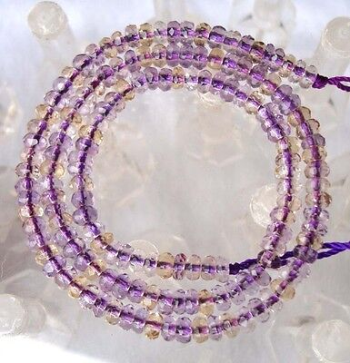 Natural Ametrine Faceted Rondelle Beads 3×5mm 15.8""