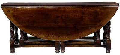 ENGLISH MADE OAK TURNED LEG GATELEG WAKE TABLE