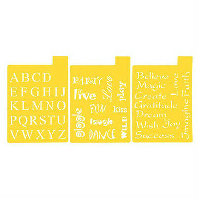 SET OF 3 Stencil Sheets FONT AND PHRASES Stencils LETTERS WORDS ALPHABET