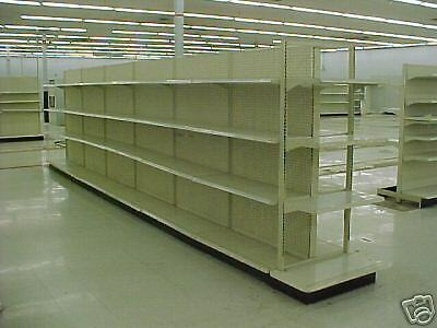 """STORE SHELVING GONDOLA 4 FT SECTIONS USED 6 1/2 TALL, 12"""" DEEP PER SIDE"""