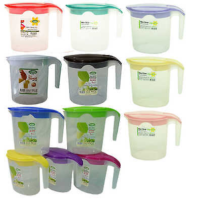 Quality Plastic 1 Litre Multi Purpose Jug with Lid Water Picnic Kitchen