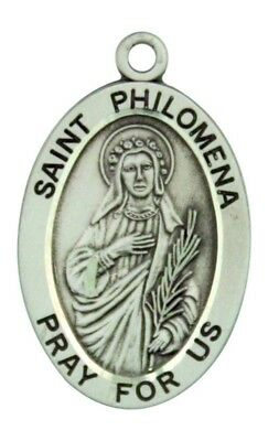 Saint St Philomena Pray For Us Pendant 1 1/16 Inch Sterling Silver Medal