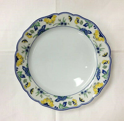 """Hutschenreuther """"papillon"""" Salad 7 1/2"""" Blue / Yellow Porcelain New  Germany"""