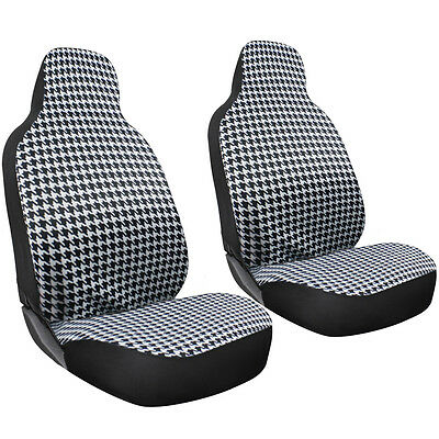 2pc Houndstooth Stretchable High Back Integrated Front Mesh Car Seat Cover 3C