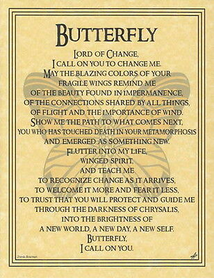 BUTTERFLY PRAYER POSTER A4 SIZE Wicca Pagan Witch Witch Goth BOOK OF SHADOWS