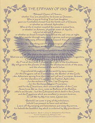 THE EPIPHANY OF ISIS POSTER A4 SIZE Wicca Pagan Witch Witch Goth BOOK OF SHADOWS