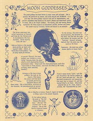 MOON GODDESS POSTER A4 SIZE Wicca Pagan Witch Witch Goth BOOK OF SHADOWS