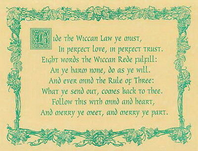 WICCAN REDE LAW POSTER A4 SIZE Wicca Pagan Witch Goth BOOK OF SHADOWS